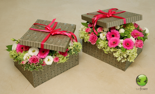 Ozdobne pudełka z kwiatami
