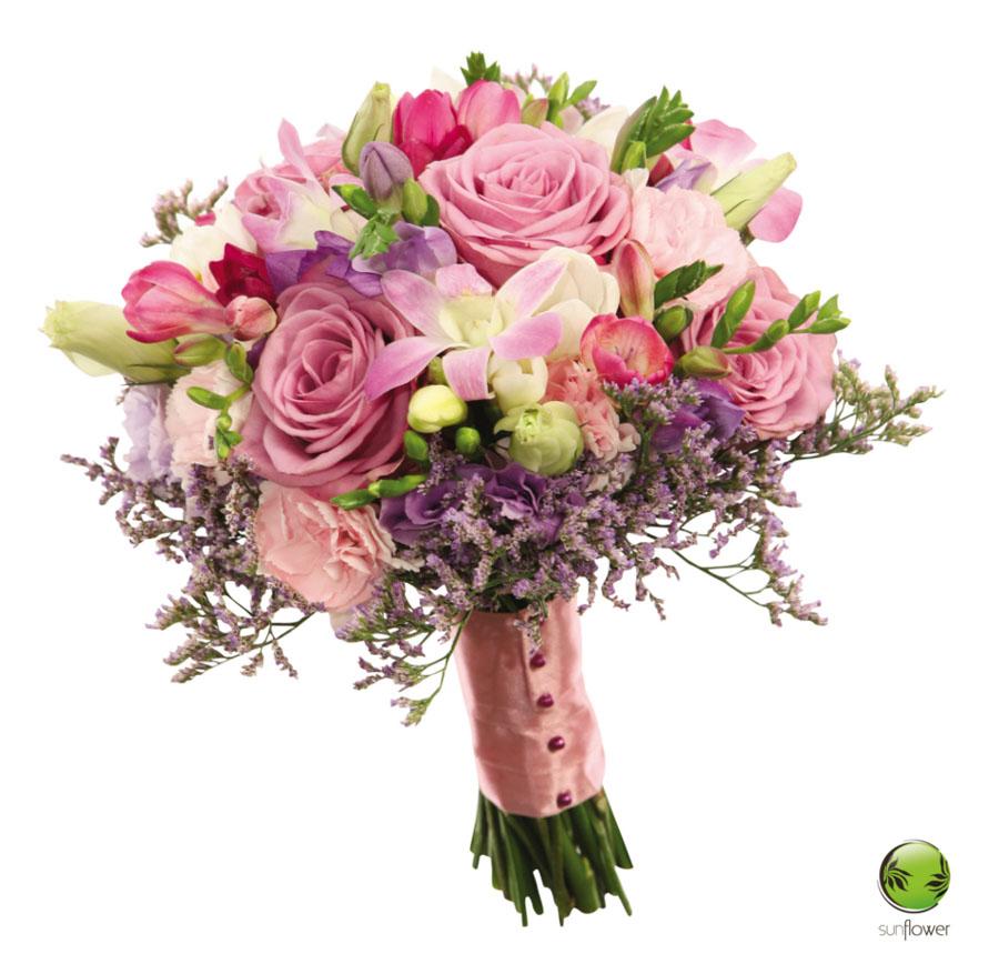 Różowy bukiet z taśmą
