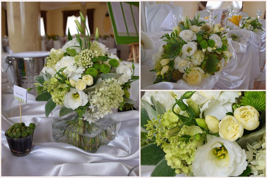 Biało zielone ozdoby z kwiatów