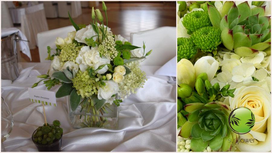 Zielono-białe kwiaty w bukiecie