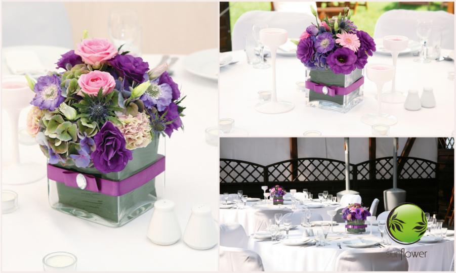 Fioletowe kwiaty w sześciennym wazonie