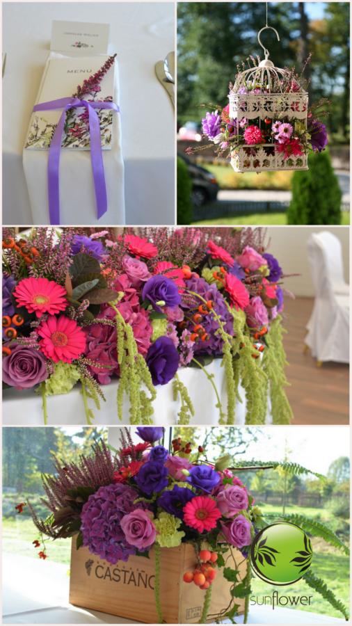 Ozdoby z wielokolorowymi kwiatami