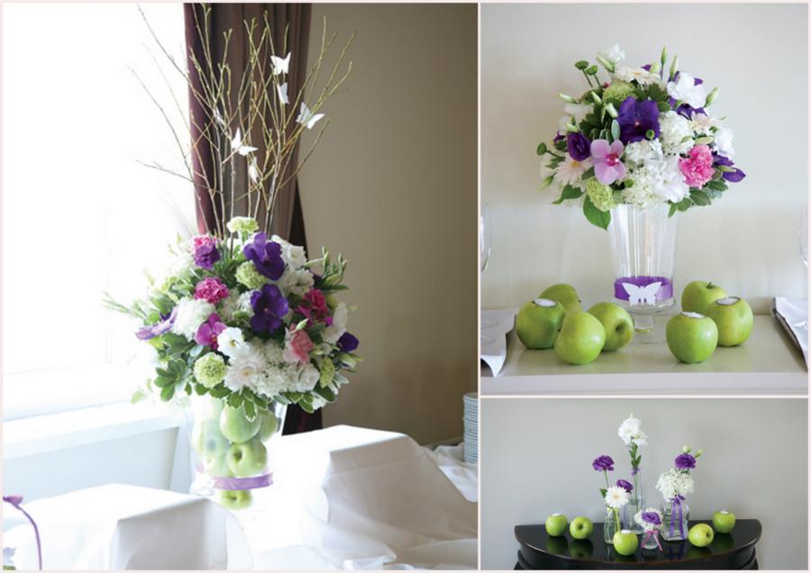 Fioletowe kwiaty z zielonym akcentem