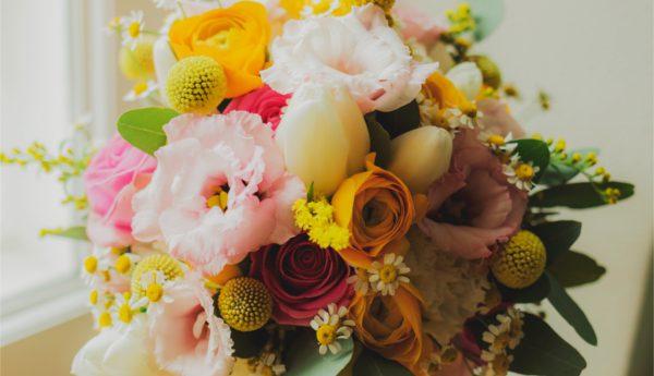 Kwiaty z wielokolorowego bukietu