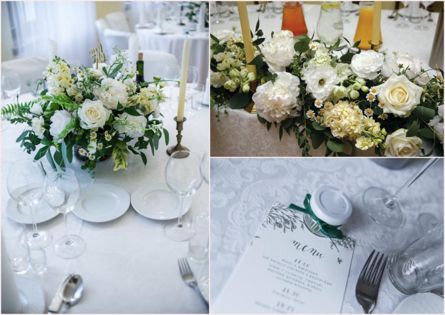 Dekoracje stolika weselnego