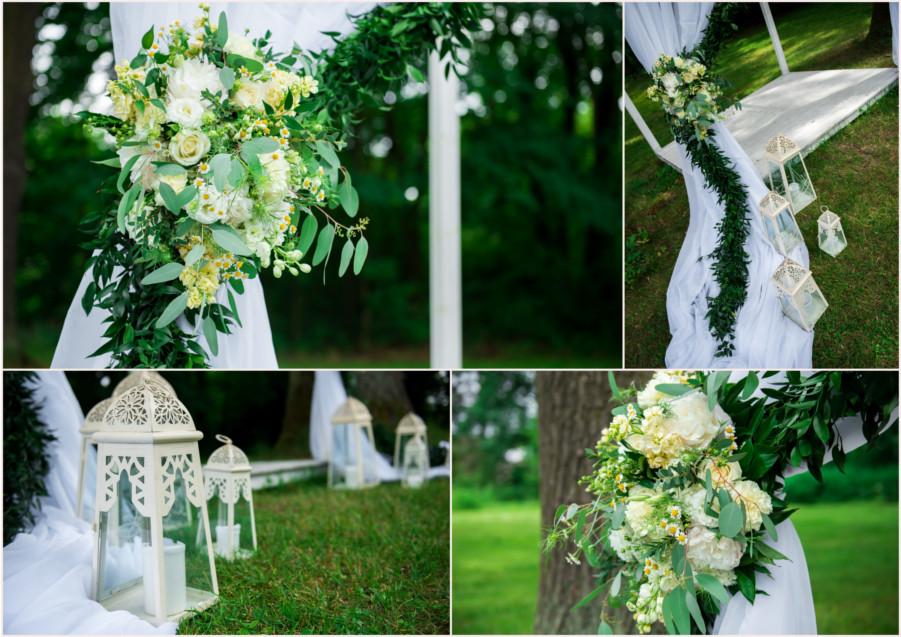 Białe dekoracje ślub w parku