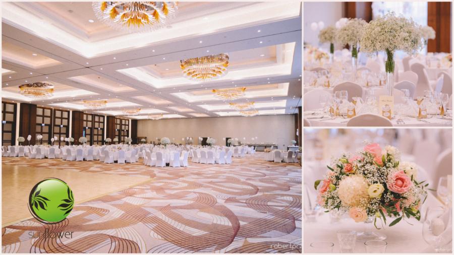 Dekoracje dużej sali weselnej
