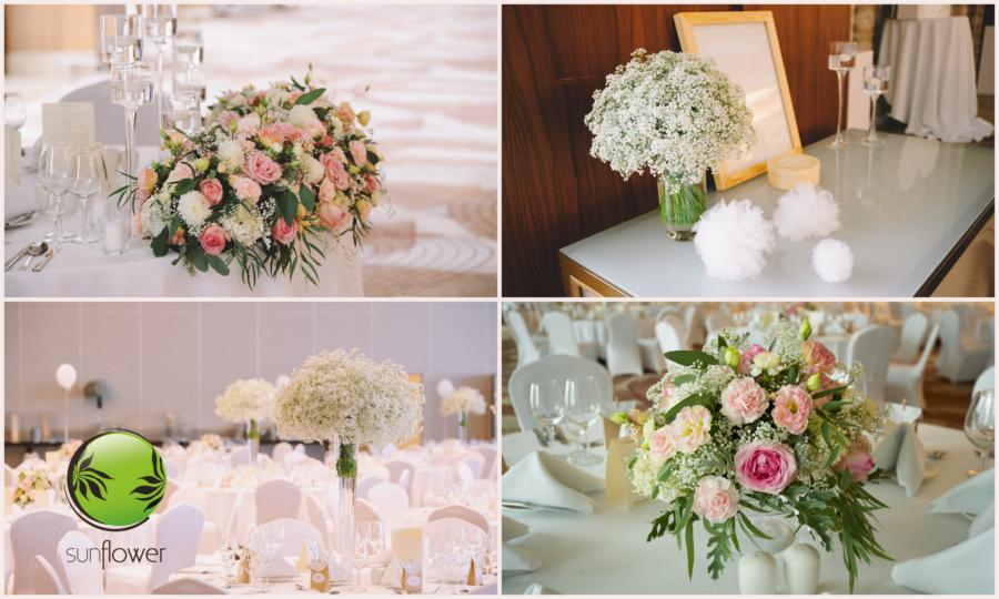 Różowe bukiety do przystrojenia sali