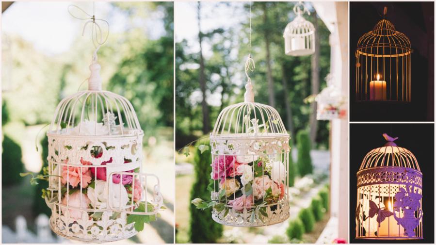 Klatki z kwiatami i świeczkami