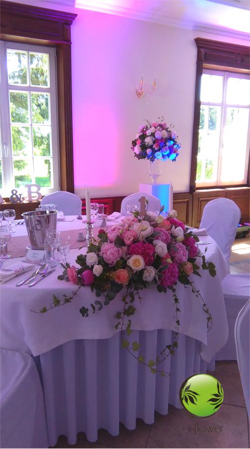 Różowy wystrój sali