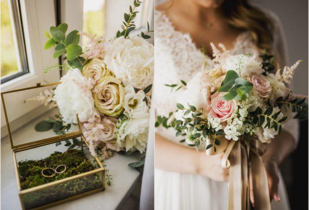 Kwiaty i obrączki w pudełku